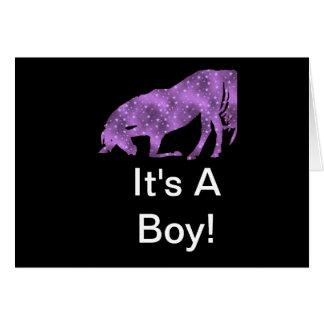 Purple Horse On Black Silhouette It's A Boy Card