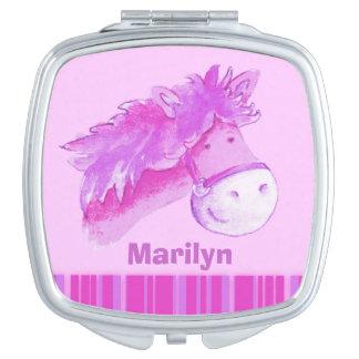 purple horse pony art kids name mirror