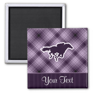 Purple Horse Racing 2 Inch Square Magnet