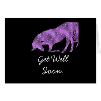 Purple Horse Silhouette Get Well Soon Card. Greeting Card