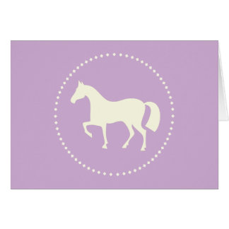 Purple horse silhouette greeting card (horizontal)