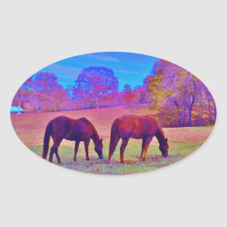 Purple Horses, in a rainbow colored field Oval Sticker