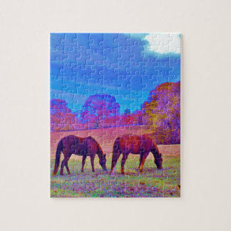 Purple Horses in a rainbow colored field Jigsaw Puzzles