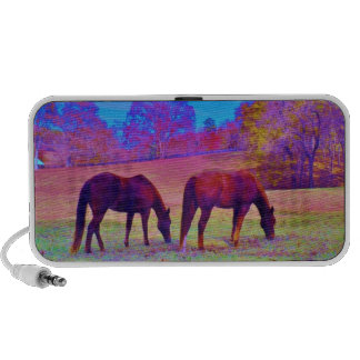 Purple Horses, in a rainbow colored field Mini Speaker