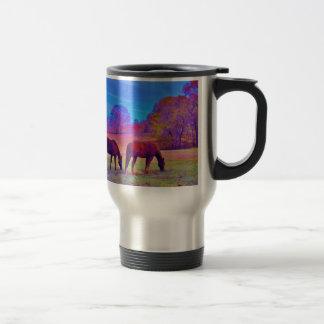 Purple Horses, in a rainbow colored field Travel Mug