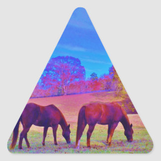 Purple Horses, in a rainbow colored field Triangle Sticker