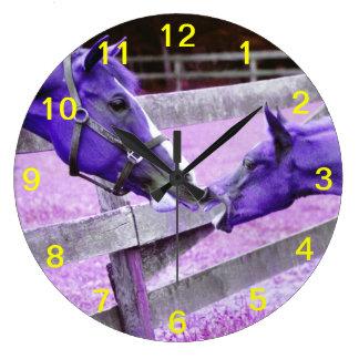 Purple horses saying hello Wall Clock