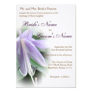 Purple Hosta Bloom Wedding 5x7 Paper Invitation Card