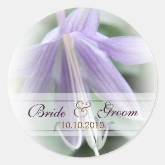 Purple Hosta Wedding Classic Round Sticker