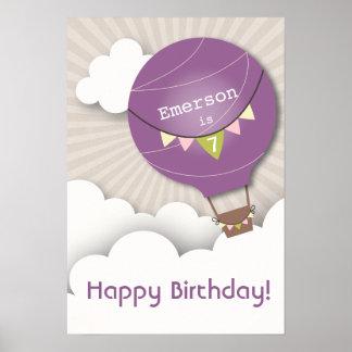 Purple Hot Air Balloon Birthday Poster