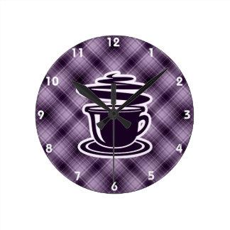 Purple Hot Coffee Round Clock