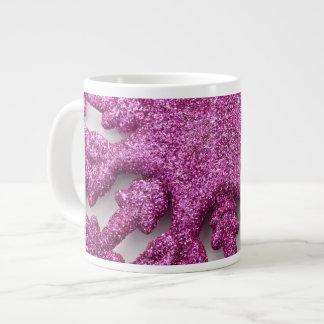 Purple hot pink glitter Christmas snowflake mug