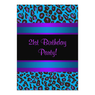 Purple Hot Pink Leopard  Womans 21st Birthday 5x7 Paper Invitation Card