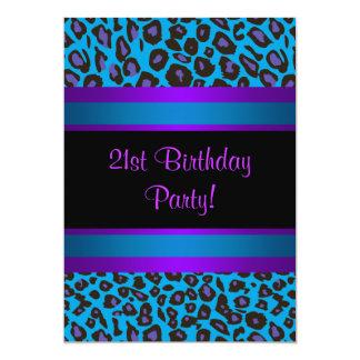 "Purple Hot Pink Leopard  Womans 21st Birthday 5"" X 7"" Invitation Card"