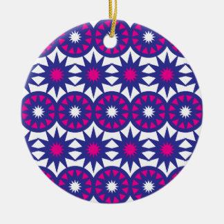 Purple Hot Pink Stars Circles Snowflakes Mandala Ceramic Ornament