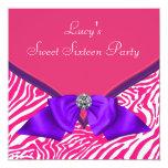 Purple Hot Pink Zebra Sweet 16 Birthday Party Invite