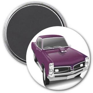 Purple hot rod muscle car magnet