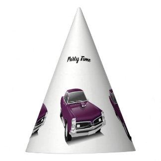 Purple hot rod muscle car party hat