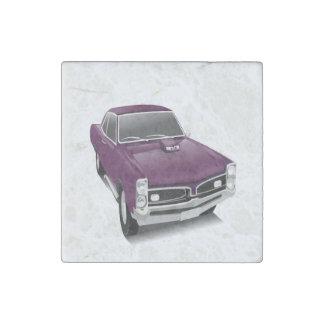 Purple hot rod muscle car stone magnet