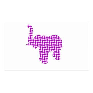 Purple Houndstooth Elephant Business Card Templates