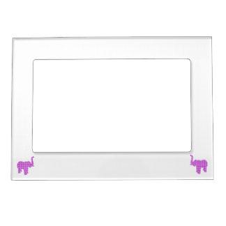 Purple Houndstooth Elephant Magnetic Photo Frame