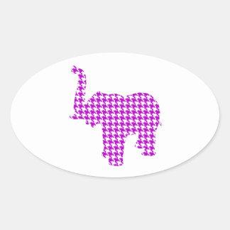 Purple Houndstooth Elephant Oval Sticker