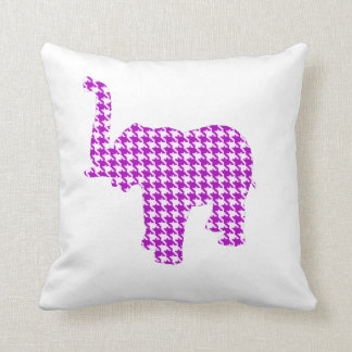 Purple Houndstooth Elephant Throw Pillow