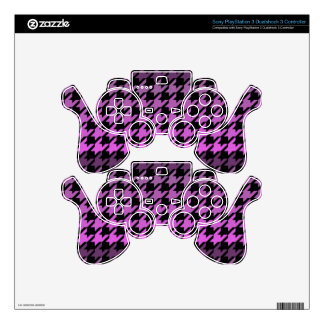 Purple houndstooth playstation 3 stickers PS3 controller skins