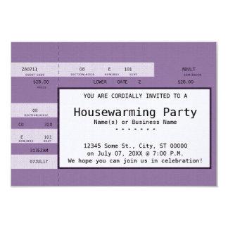 purple housewarming concert ticket card