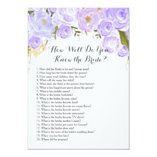 purple How well do you know the bride? Card