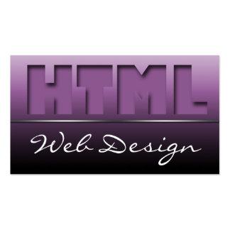 Purple HTML Web Design Sleek Business Cards