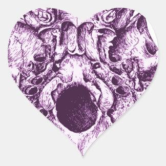 Purple Human Skull below Heart Sticker