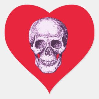 Purple Human Skull Heart Sticker