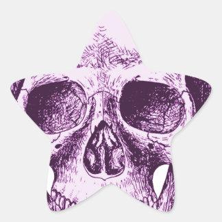 Purple Human Skull Star Sticker