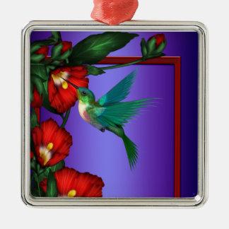 Purple Hummingbird Red Hibiscus Ornamnet Square Metal Christmas Ornament