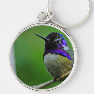 Purple Hummingbird Silver-Colored Round Keychain