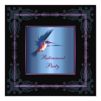 Purple Hummingbird Womans Retirement Party Invitation