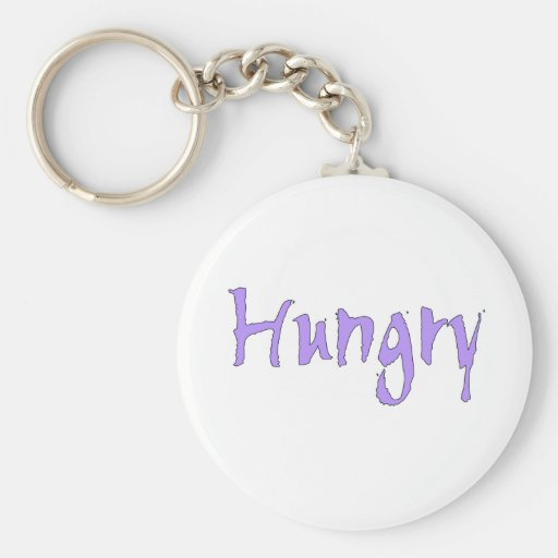 Purple Hungry Basic Round Button Keychain