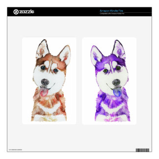 Purple Husky Pup Kindle Fire Decals