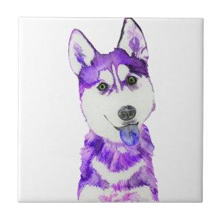 Purple Husky Pup Tile