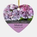 Purple Hydrangea Adoption Announcement Ornament