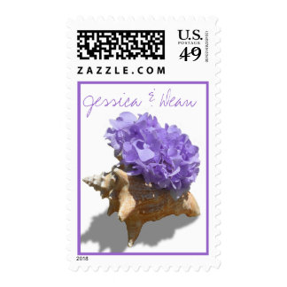 Purple Hydrangea and Seashell Stamp