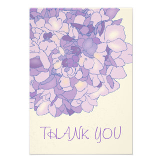 Purple Hydrangea Art Monogrammed Thank You Cards Announcement