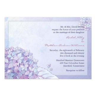 Purple Hydrangea Blooms Fall Floral Wedding Card