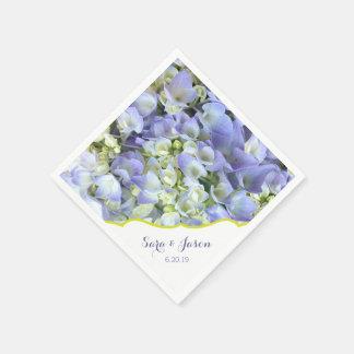 Purple Hydrangea Customizable Wedding Paper Napkin