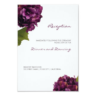 Purple Hydrangea - floral reception card