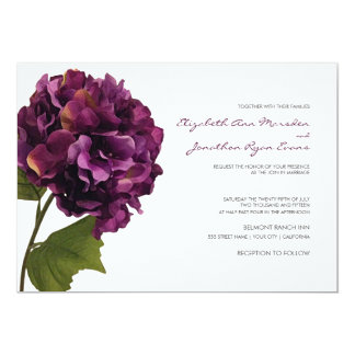 Purple Hydrangea - floral wedding invitation