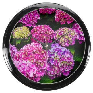 Purple Hydrangea Flowers Blooming In Summer Aquarium Clock