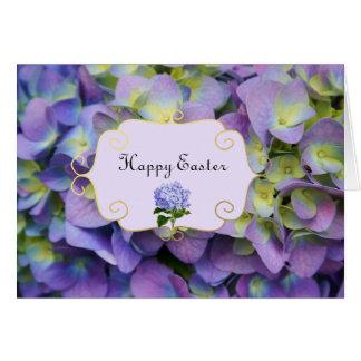 Purple Hydrangea flowers Easter Card