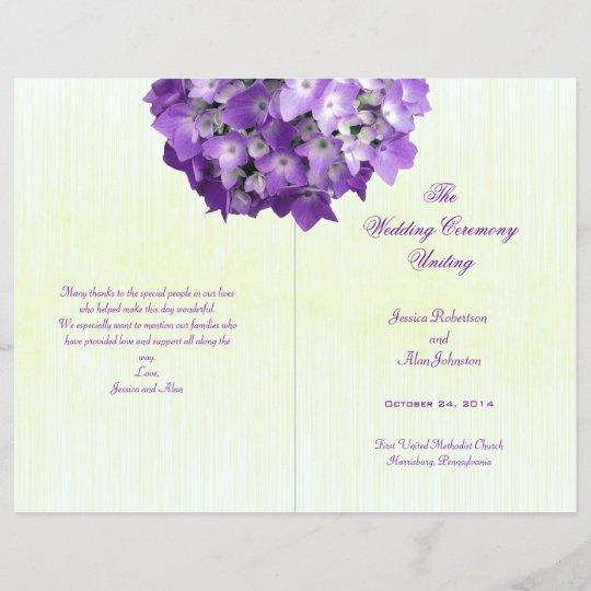 Purple Hydrangea Folded Wedding Program Template